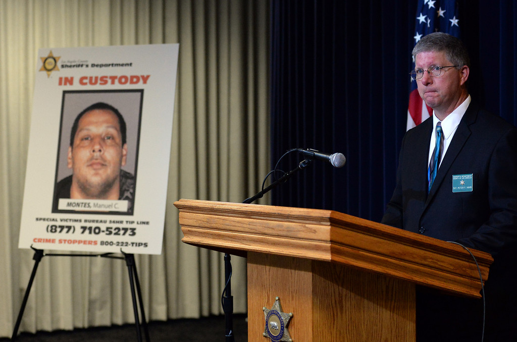 Description of . Los Angeles County Sherriff's Sgt. Peter F. Hahn speaks to the media seeking public's help in finding more victims of a Bassett man Manuel C. Montes, who was arrested on suspicion of lewd acts with children and distributing child porn, is shown during a news conference at the Los Angeles County Sheriff Headquarters in Monterey Park, Calif., on Friday, Feb.14, 2014. (Keith Birmingham Pasadena Star-News)