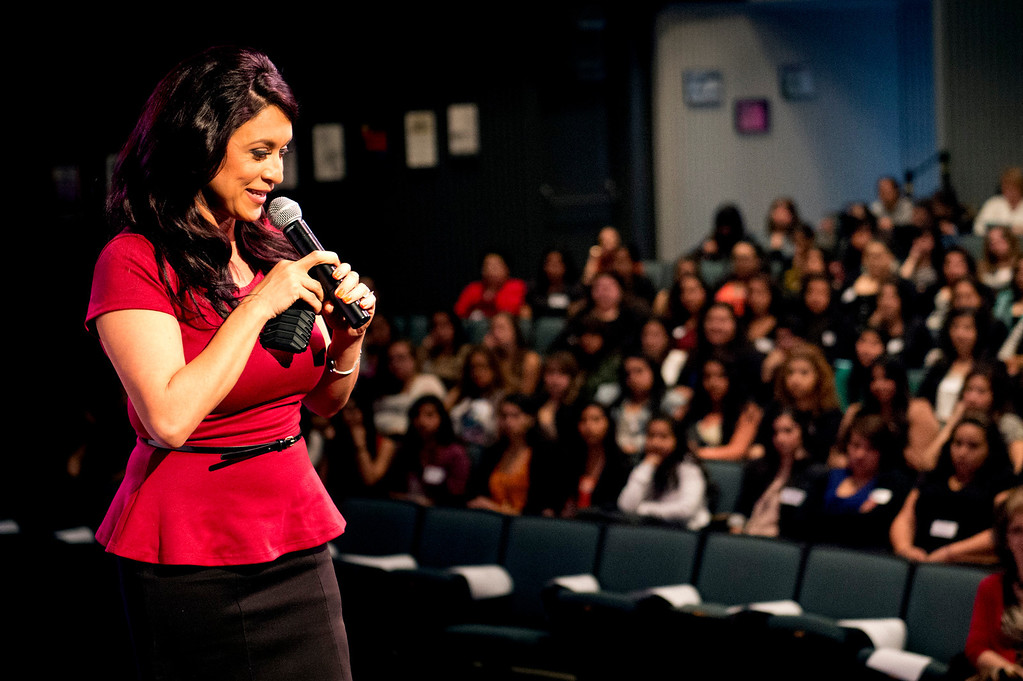 """Description of . Telemundo news anchor Dunia Elvir speaks to high school students during Women's History Conference at Rio Hondo College in Whittier on Friday, March 7, 2014. The conference, themed """"Women Inspiring Hope and Possibility,"""" is a joint venture with the Whittier Union High School District and Soroptomist International of Whittier. (Photo by Watchara Phomicinda/San Gabriel Valley Tribune)"""