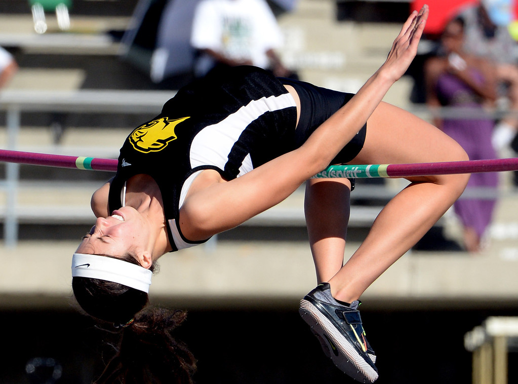 Description of . Peninsula's Tammy McVickar competes in the high jump during the CIF-SS Masters Track and Field meet at Falcon Field on the campus of Cerritos College in Norwalk, Calif., on Friday, May 30, 2014.   (Keith Birmingham/Pasadena Star-News)