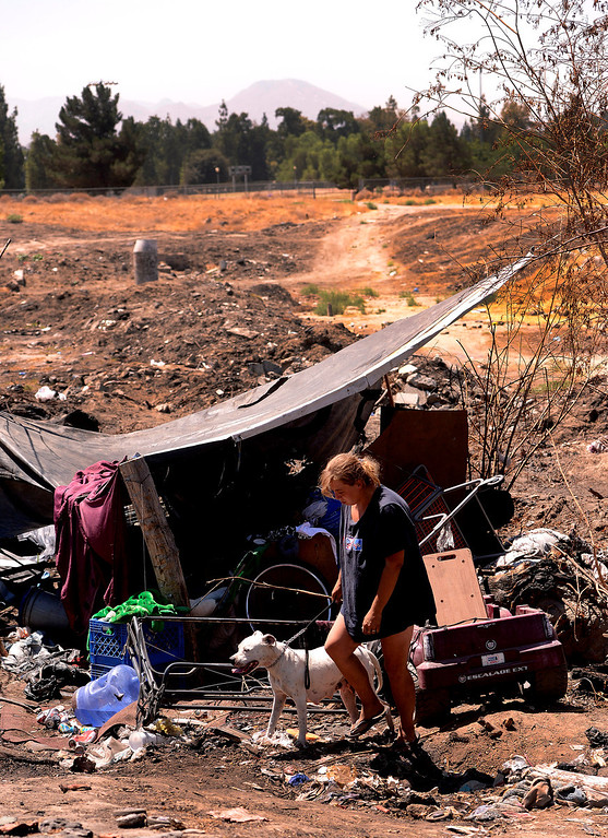 Description of . Dawna Bonner, 30, emerges with a dog from a homeless camp in a vacant lot along Ninth Street in San Bernardino August 14, 2013. GABREL LUIS ACOSTA/STAFF PHOTOGRAPHER.
