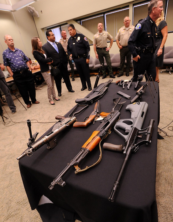 Description of . A view of previously confiscated firearms as seen at the San Bernardino County Sheriff's Department in San Bernardino May 31, 2013.   GABRIEL LUIS ACOSTA/STAFF PHOTOGRAPHER.