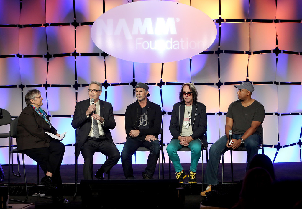 Description of . ANAHEIM, CA - JANUARY 24:  NAMM Foundation Executive Director Mary Luehrsen, NAMM President and CEO Joe Lamond, Drummer Chad Smith, recording artist Todd Rundgren and Baseball player Bernie Williams attend the 2014 National Association of Music Merchants show at the Anaheim Convention Center on January 24, 2014 in Anaheim, California.  (Photo by Jesse Grant/Getty Images for NAMM)