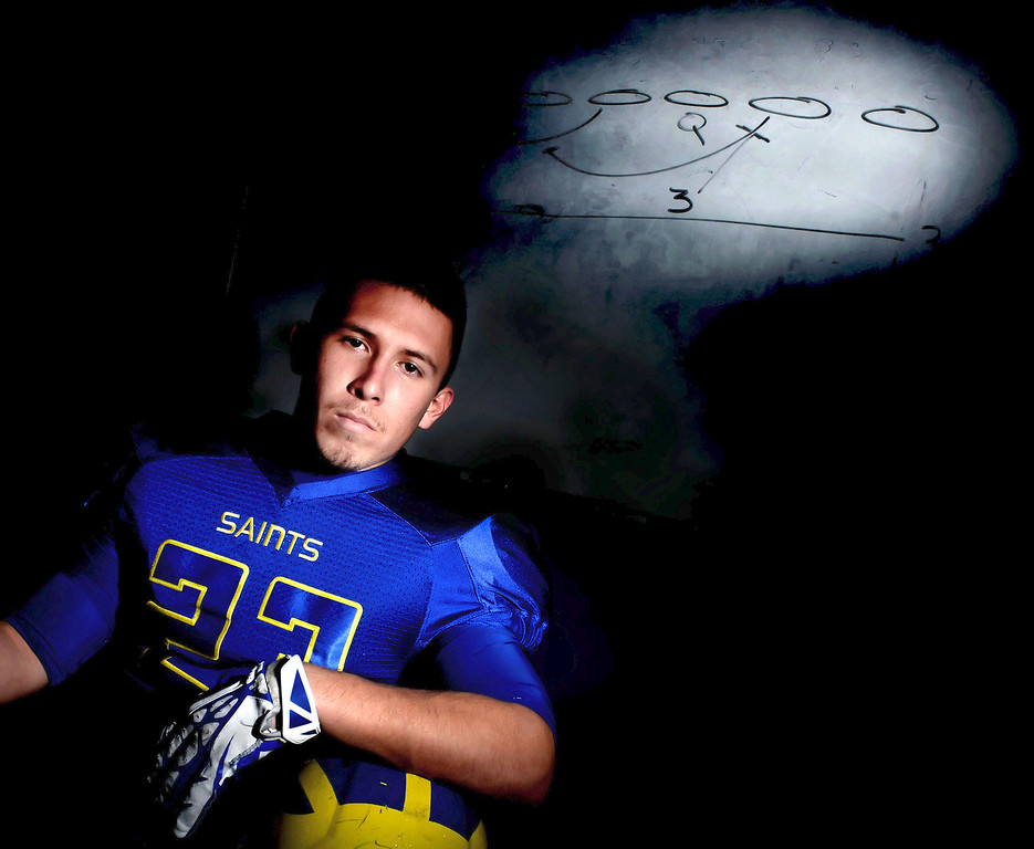 Description of . San Dimas football player and Tribune player of the year, Joseph Mayorga at San Dimas High School in San Dimas, Calif., on Thursday, Dec. 19, 2013.     (Keith Birmingham Pasadena Star-News)
