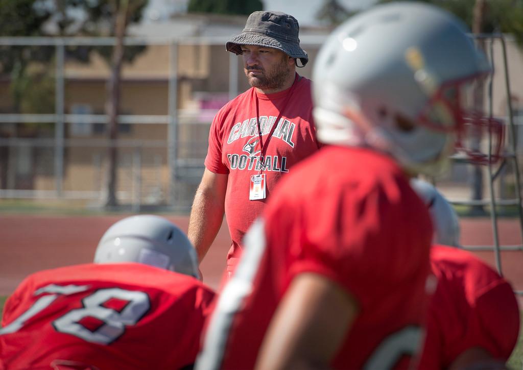 Description of . Whittier High head coach Visko Ancich during preseason football practice August 27, 2013.   (SGVN/Staff photo by Leo Jarzomb)