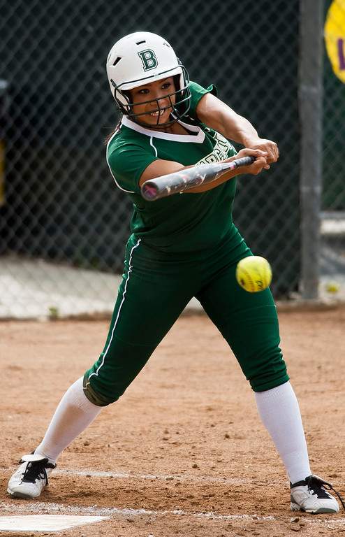 Description of . Bonita's Chloe Melanson (16) in the second inning during prep softball game Bonita vs. Diamond Bar at Diamond Bar High School on Wednesday, May 8, 2013. (SGVN/Staff photo by Watchara Phomicinda)
