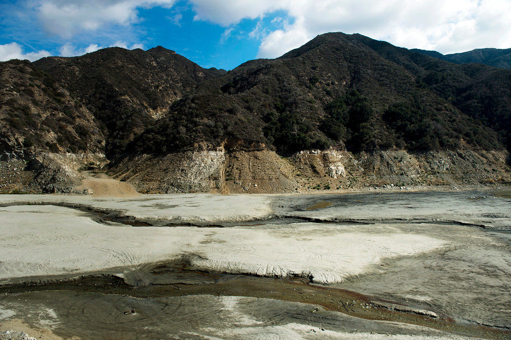 Description of . The trickle of the San Gabriel River in the Angeles National Forest just south of San Gabriel Dam on Friday, Feb. 7, 2014 shows the effects of the prolonged drought. (Photo by Watchara Phomicinda/ San Gabriel Valley Tribune)