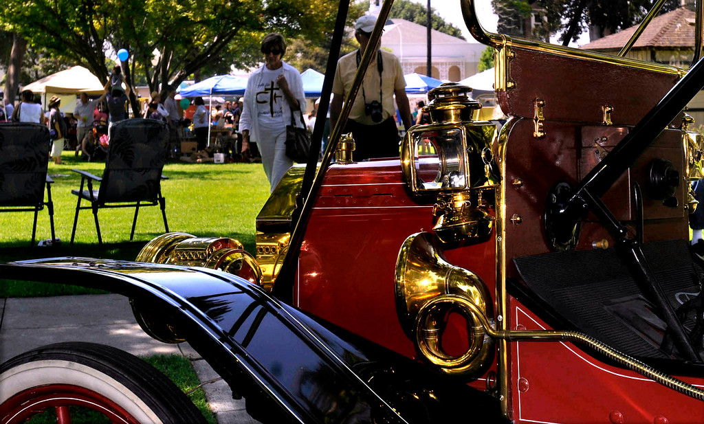 Description of . Antique cars on display.  The 119th anniversary of the founding of Whittier was celebrated during Founders Day at Central Park in Uptown Whittier, Saturday, May 11, 2013.  (Mike Mullen)
