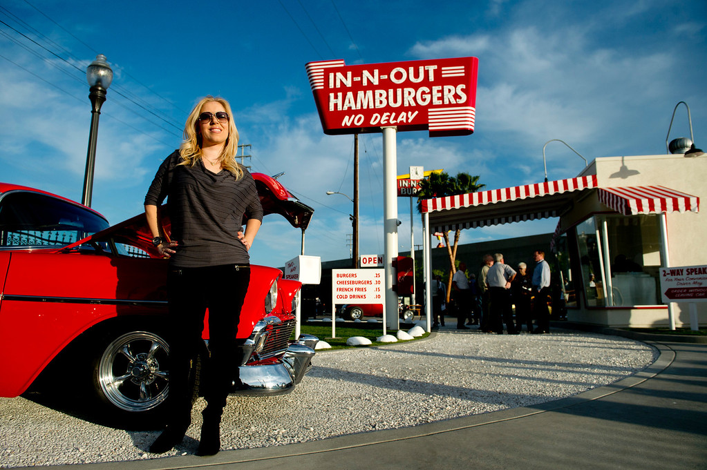 Description of . President Lynsi Snyder of the In-N-Out hamburger chain during the unveiling of a replica of the first In-N-Out hamburger stand in Baldwin Park on Tuesday, Feb. 26, 2014. (Photo by Watchara Phomicinda/ San Gabriel Valley Tribune)