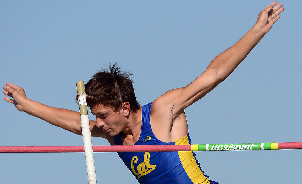 Description of . California's Jorge Zapien competes in the pole vault during the Arcadia Invitational track and field meet at Arcadia High School in Arcadia, Calif., on Friday, April 11, 2014.  (Keith Birmingham Pasadena Star-News)