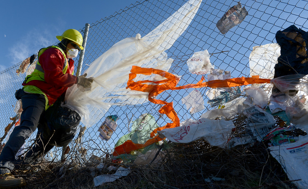 Description of . Workers from Athens Service pull wind blown trash Monday December 9, 2013, from a fence bordering the 210 freeway in Fontana. Trash was stuck along nearly a mile of fence line. (Staff photo by Rick Sforza)
