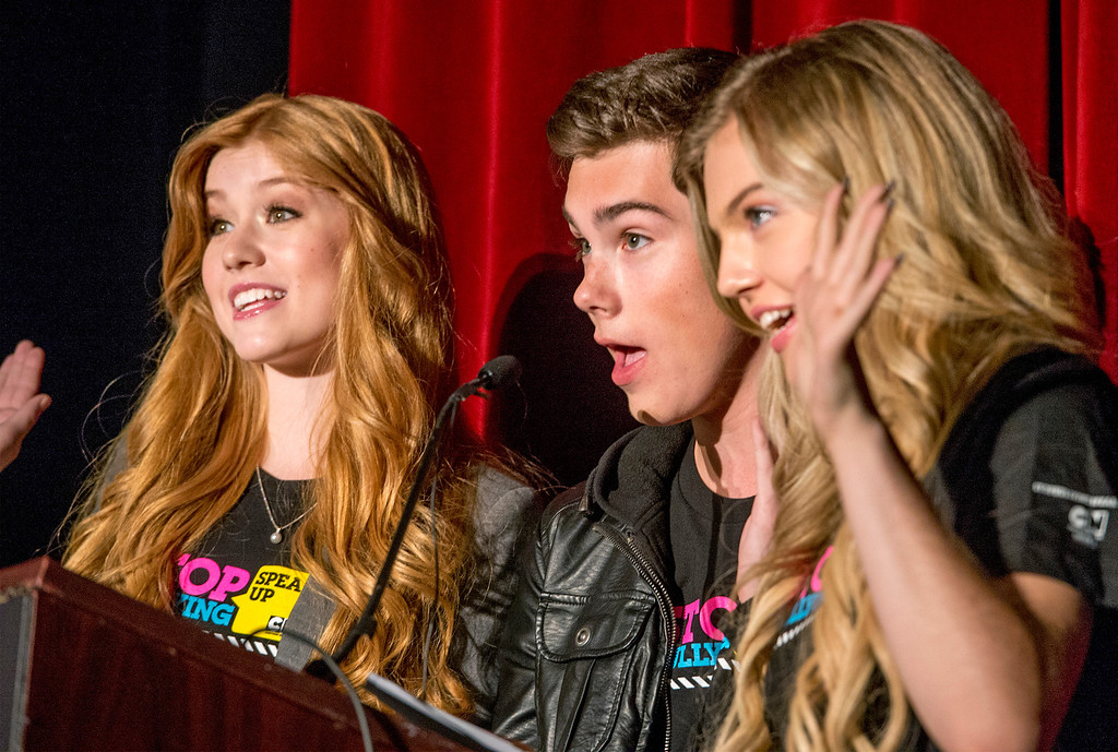 Description of . Cartoon Network performers from left: Kat McNamara, Jeremy Shada and Shauna Case attend an anti-bullying rally at Katherine Edwards Middle School in West Whittier Sept. 23, 2013.  (Staff photo by Leo Jarzomb/SGV Tribune)