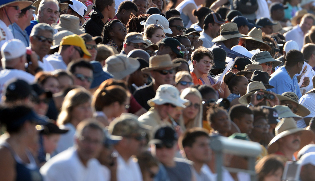 Description of . Fans look on during the CIF California State Track & Field Championships at Veteran's Memorial Stadium on the campus of Buchanan High School in Clovis, Calif., on Saturday, June 7, 2014.   (Keith Birmingham/Pasadena Star-News)