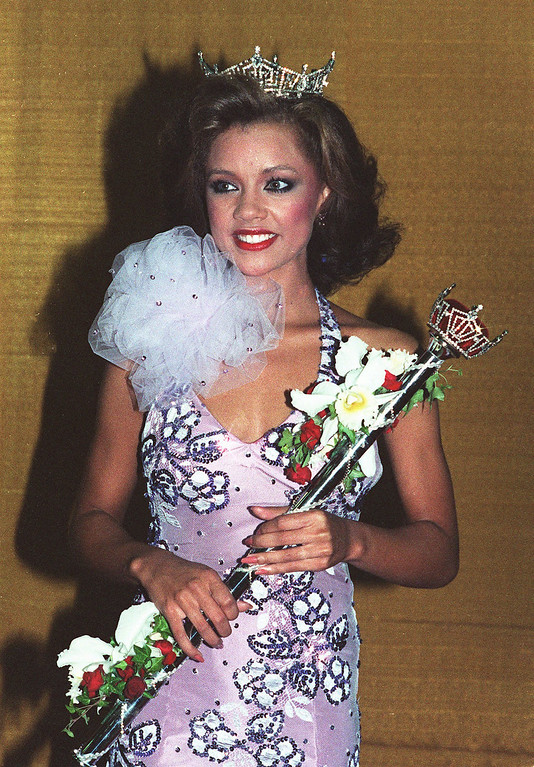 Description of . Vanessa Williams poses after being crowned Miss America 1984 in Atlantic City, N.J., September 17, 1983. (AP Photo/Files)