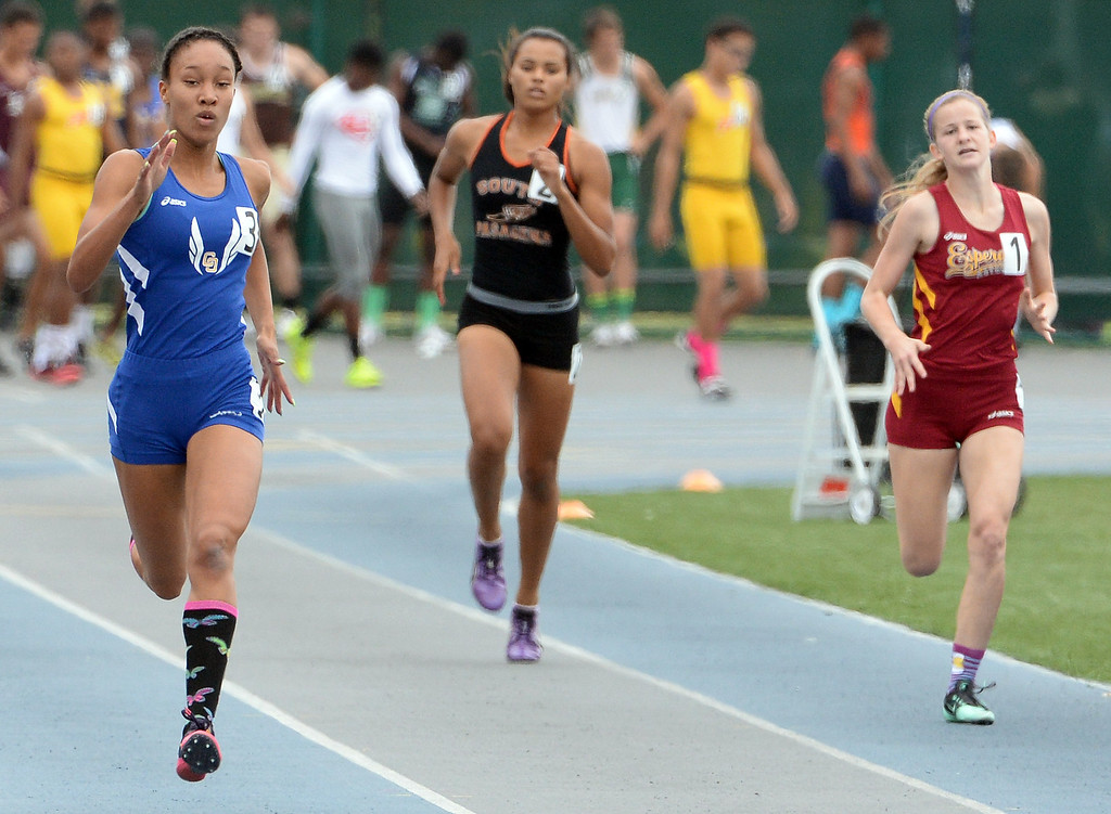 Description of . Charter Oak's Morgan Love competes in the division 3 400 meters race during the CIF Southern Section track and final Championships at Cerritos College in Norwalk, Calif., Saturday, May 24, 2014. 