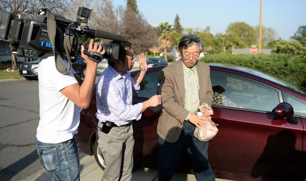 Description of . Dorian Satoshi Nakamoto, 64, who Newsweek identified as the founder of Bitcoin, talks with the media at his home in Temple City, Calif., on Thursday, March 6, 2014. Bitcoin is a virtual currency.