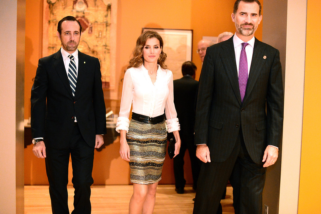 Description of . The Crown Prince Felipe, right, and Princess Letizia of Spain visit the Junipero Serra exhibition at The Huntington Library in San Marino Saturday night, November 16, 2013. (Photo by Sarah Reingewirtz/Pasadena Star-News)