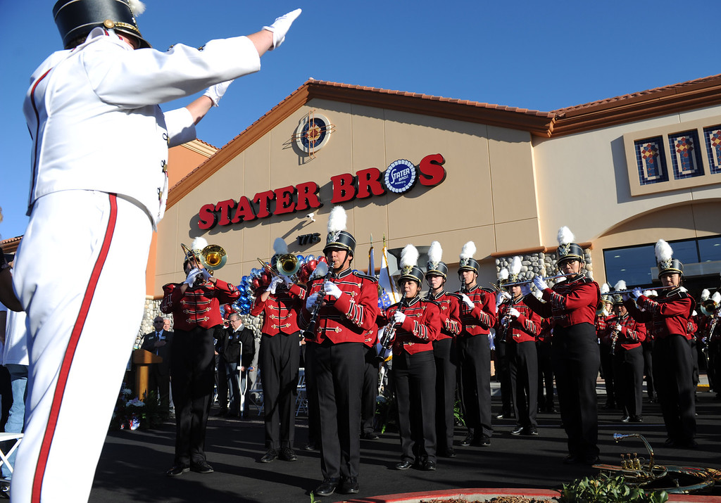 Description of . (John Valenzuela/Staff Photographer) Redlands East Valley Marching Band plays the National Anthem during the grand opening of Stater Bros. in Redlands, Wednesday, September 25, 2013. The new store replaces the one directly across the street, offering more amenities and services, including a bakery, seafood counter and wider aisles.