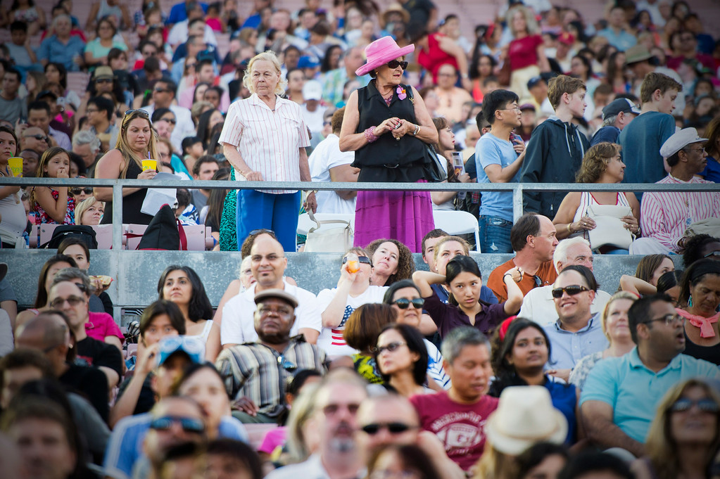 Description of . A crowd watches teen idol Ian Thomas perform during the 88th Annual Fourth of July Celebration, Americafest at the Rose Bowl in Pasadena Friday night, July 4, 2014. (Photo by Sarah Reingewirtz/Pasadena Star-News)