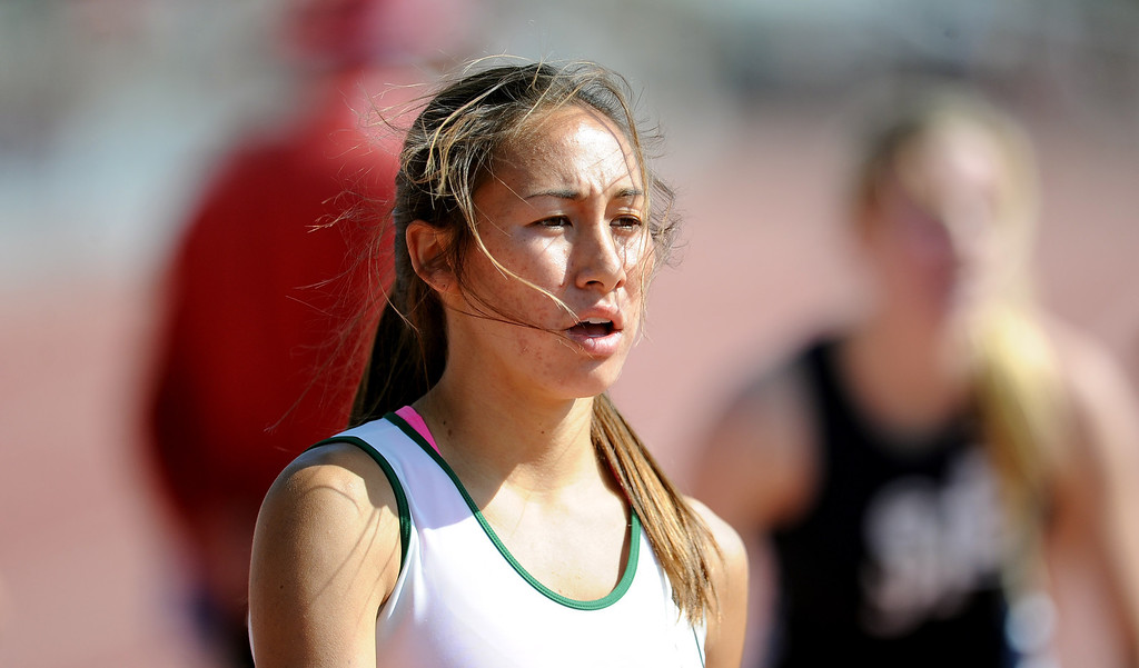 Description of . Bonita's Marrisa Scott after winning the 800 meters race during the CIF-SS track & Field championship finals in Hilmer Stadium on the campus of Mt. San Antonio College on Saturday, May 18, 2013 in Walnut, Calif.  (Keith Birmingham Pasadena Star-News)