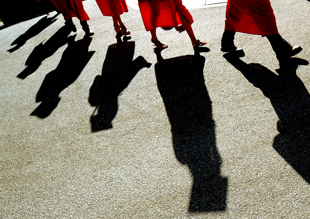 Description of . Students walk towards their seats during the Whittier High School graduation at Whittier College in Whittier, Calif., on Wednesday, June 4, 2014.  (Keith Birmingham/Pasadena Star-News)
