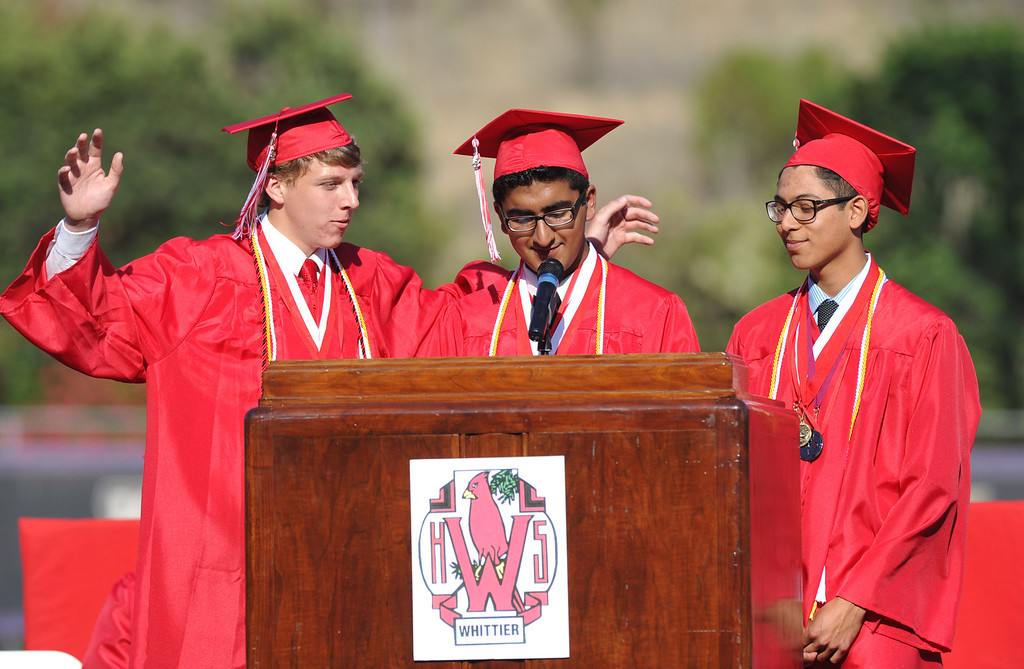 Description of . Valedictorians, from left, Jeremiah Gotts, Ganeev Singh and Joseph Rosales speak during the 112th Whittier High School Commencement at Whittier College in Whittier on Wednesday June 12, 2013. (SGVN/Staff Photo by Keith Durflinger)