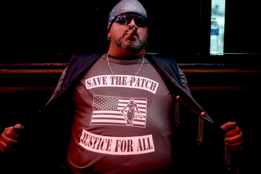 Description of . Big Al, of Ontario, shows his support as Motorcycle club members rally Saturday, March 29, 2013 at The House Lounge in Maywood in support of the Mongols who are facing a federal trial seeking to take away their trademark patch. (Photo by Sarah Reingewirtz/Pasadena Star-News)