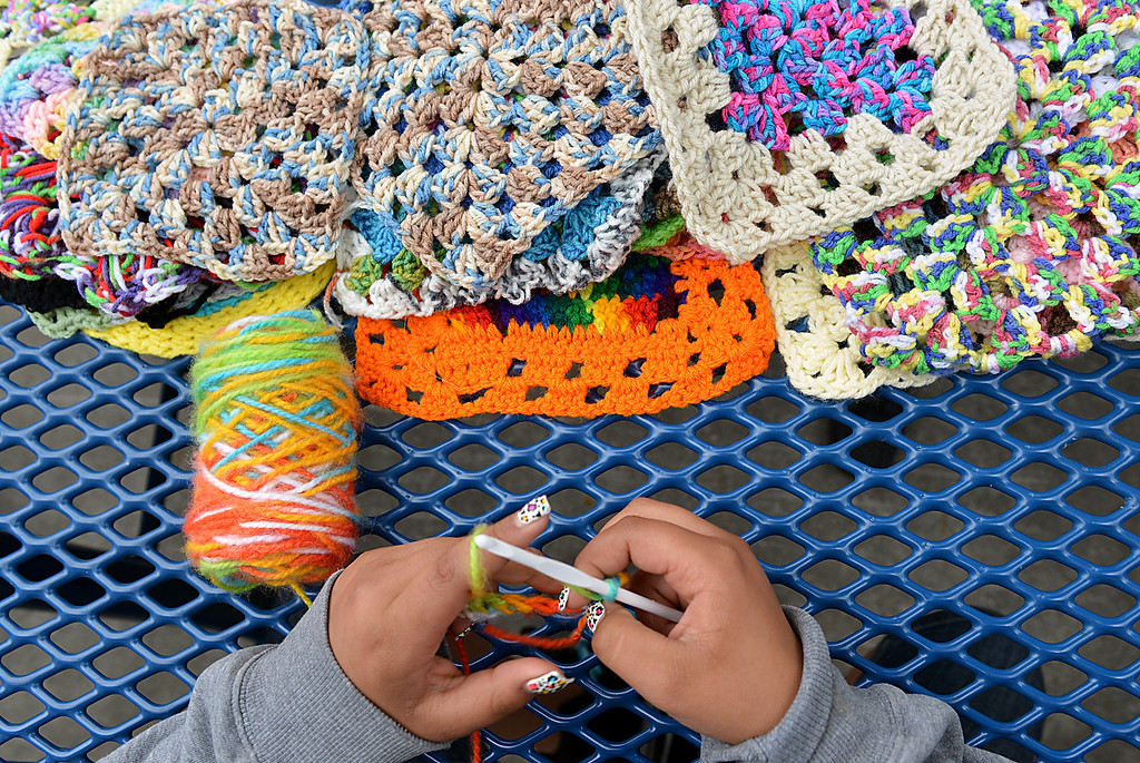 Description of . Twice a week, for the past six years, fifth-graders at Lugonia Elementary School in Redlands have spent their lunch time crocheting. The