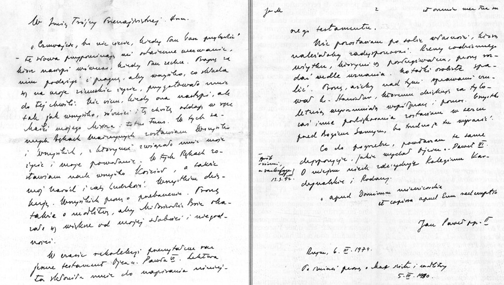 Description of . A copy of two pages of the original Polish hand-written testament of Pope John Paul II, as published by the Vatican daily L'Osservatore Romano, Thursday, April 7, 2005. The testament, which was made public on Thursday, was originally written on March 3, 1979, the year after he was elected, but contains additions as late as 2000. (AP Photo/Osservatore Romano)
