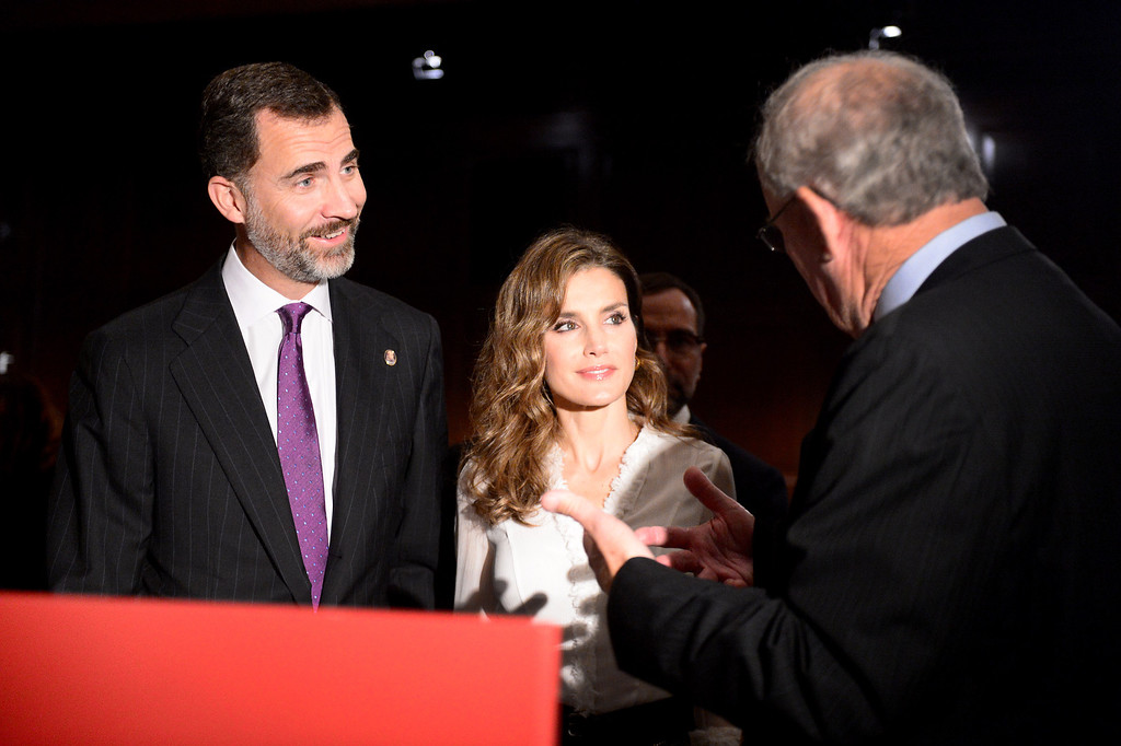 Description of . The Crown Prince Felipe and Princess Letizia of Spain look over historical documents in The Huntington Library's Exhibition Hall as they visit the Junipero Serra exhibition in San Marino Saturday night, November 16, 2013. (Photo by Sarah Reingewirtz/Pasadena Star-News)