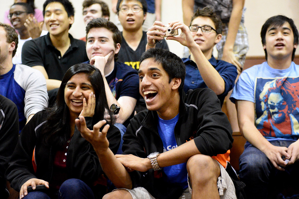 Description of . Caltech students watch teams of mechanical engineering Caltech students compete in the annual ME72 Engineering Design Contest at the Pasadena campus Tuesday, March 11, 2014. The goal in
