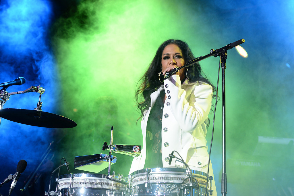 Description of . Sheila E. performs during The NAMM (National Association of Music Merchants) Show, the world wide music trade show, at the Anaheim Convention Center in Anaheim on Friday January 24, 2014. NAMM is a music trade show drawing retailers and other industry people to Anaheim for four days of everything music. (Staff Photo by Keith Durflinger/San Gabriel Valley Tribune)