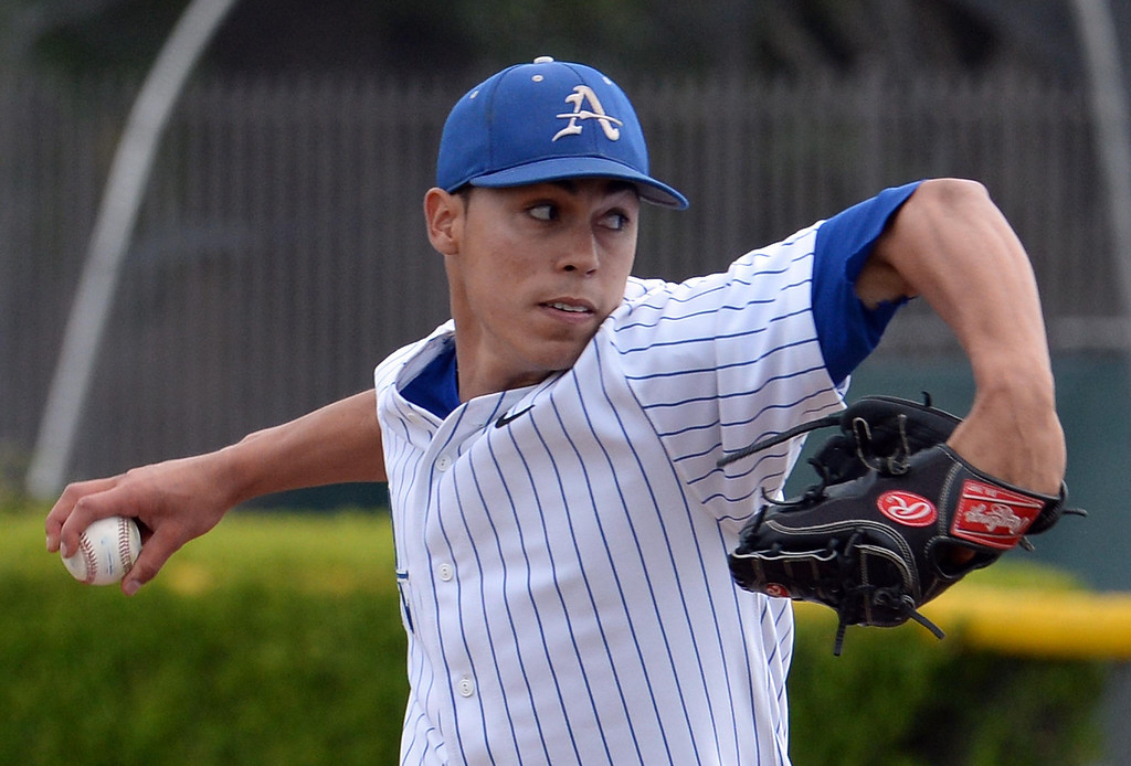 Description of . Bishop Amat starting pitcher Alex Garcia throws to the plate against La Salle in the first inning of prep baseball game at Bishop Amat High School in La Puente, Calif., on Tuesday, May 6, 2014. (Keith Birmingham Pasadena Star-News)