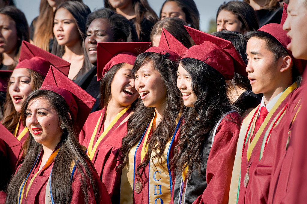 Description of . The Voices of Wilson singers perform at Wilson High's 46th annual commencement exercises at the Hacienda Heights campus May 20, 2013.    (SGV Tribune staff photo by Leo Jarzomb)