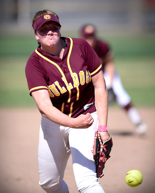 Description of . West Covina's Maddy Tickey (17) pitches to Los Altos  Thursday, May 15, 2014 at West Covina High School. Los Altos won 4-3. (Photo by Sarah Reingewirtz/Pasadena Star-News)