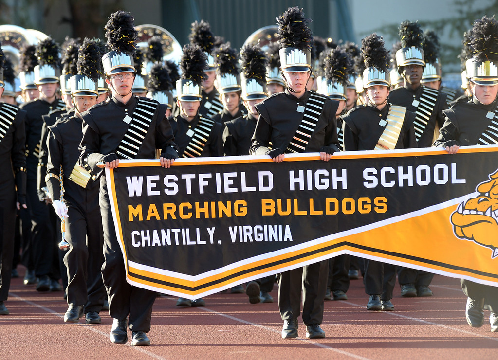 Description of . The Westfield High School Marching Bulldogs from Chantilly, Virginia performs during the 34th Annual Pasadena Tournament of Roses Bandfest at Pasadena City College on Monday December 30, 2013. (Staff Photo by Keith Durflinger/Pasadena Star-News)