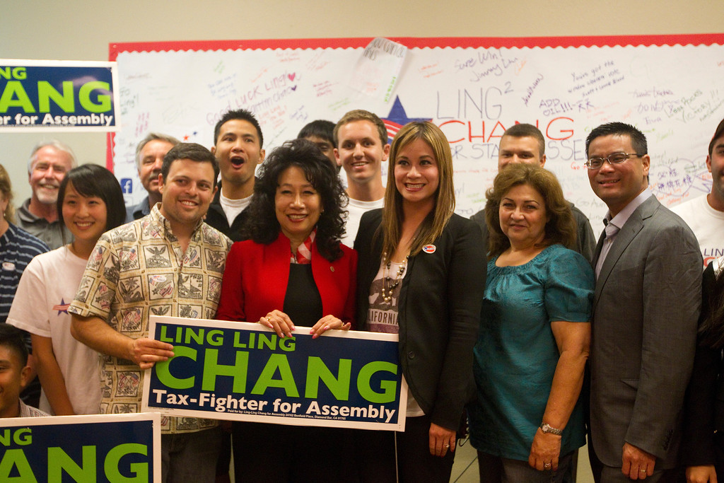 Description of . Ling-Ling Chang poses with her volunteers and supporters at her campaign headquarters in Brea, Tuesday, June 3, 2014. (Photo by Robert Huskey)