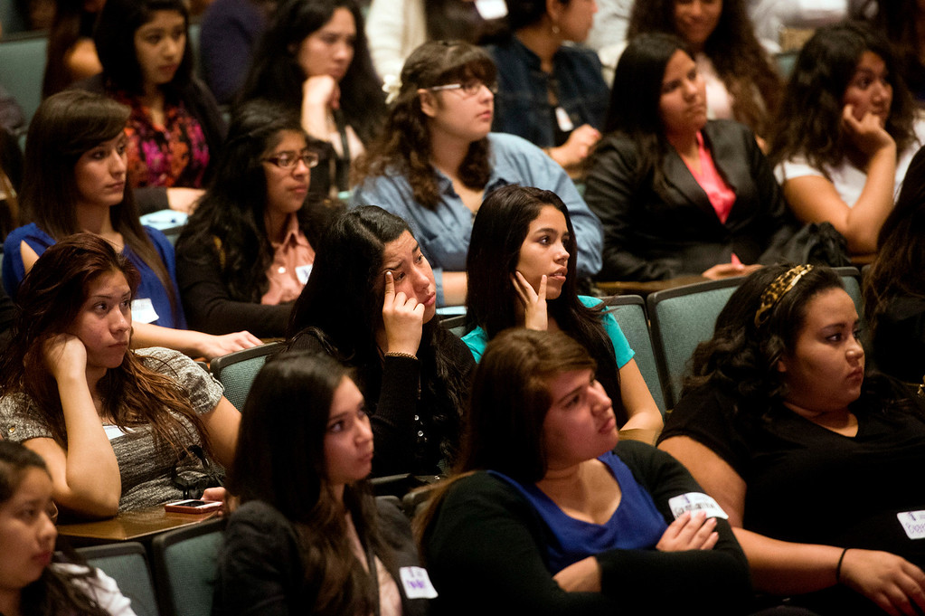 """Description of . About 300 students and visitors listen to keynote speaker Telemundo news anchor Dunia Elvir during Women's History Conference at Rio Hondo College in Whittier on Friday, March 7, 2014. The conference, themed """"Women Inspiring Hope and Possibility,"""" is a joint venture with the Whittier Union High School District and Soroptomist International of Whittier. (Photo by Watchara Phomicinda/San Gabriel Valley Tribune)"""