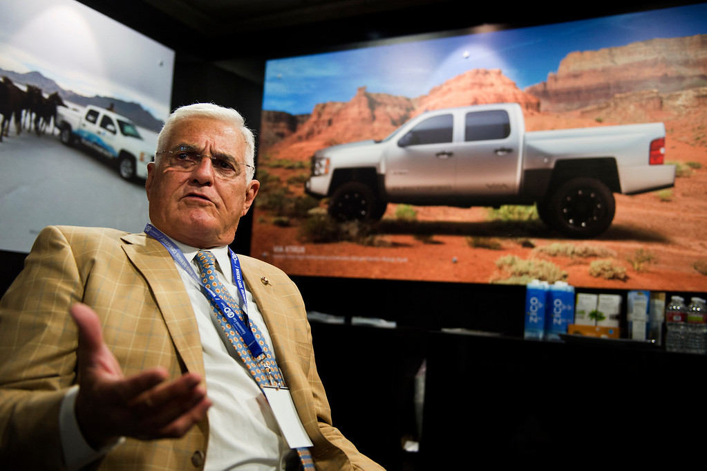 Description of . Bob Lutz, former Vice President of GM and Father of the Chevy Volt,  at Los Angeles Auto Show on Wednesday, Nov. 20, 2013, in Los Angeles. (Photo by Watchara Phomicinda/San Gabriel Valley Tribune)