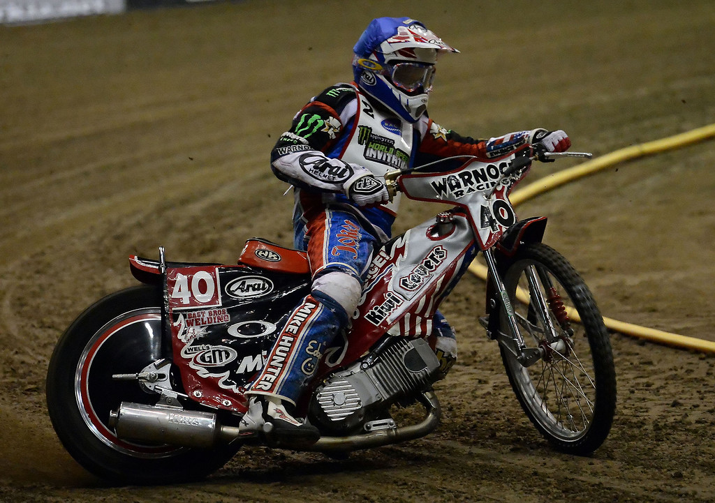 Description of . Ryan Fisher in the first race race during the Monster Energy Speedway Cycles at the Industry Speedway in the Industry Hills Grand Arena in Industry, Calif., on Saturday, Dec. 28, 2013.     (Keith Birmingham Pasadena Star-News)