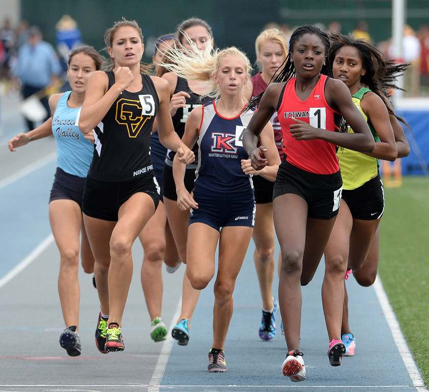 Description of . Etiwanda Jacquelyn competes in the division 1 800 meters race during the CIF Southern Section track and final Championships at Cerritos College in Norwalk, Calif., Saturday, May 24, 2014. 