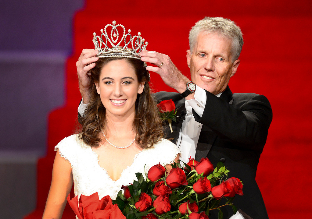 Description of . Tournament of Roses President Scott Jenkins crowns the 96th Rose Queen, Ana Acosta during the Tournament of Roses' coronation ceremony Thursday night, October 24, 2013 at the First Church of the Nazarene of Pasadena. (Photo by Sarah Reingewirtz/Pasadena Star-News)