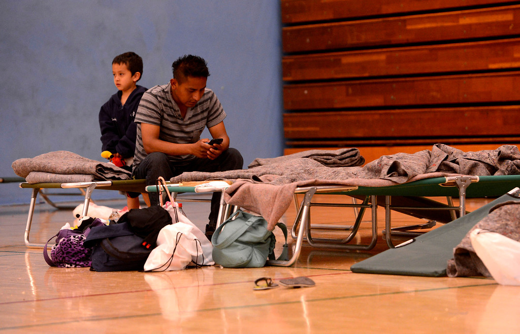 Description of . Burned out residents stay at the Red Cross Shelter set up at the San Gorgonio High School in San Bernardino May 13, 2013.   GABRIEL LUIS ACOSTA/STAFF PHOTOGRAPHER.