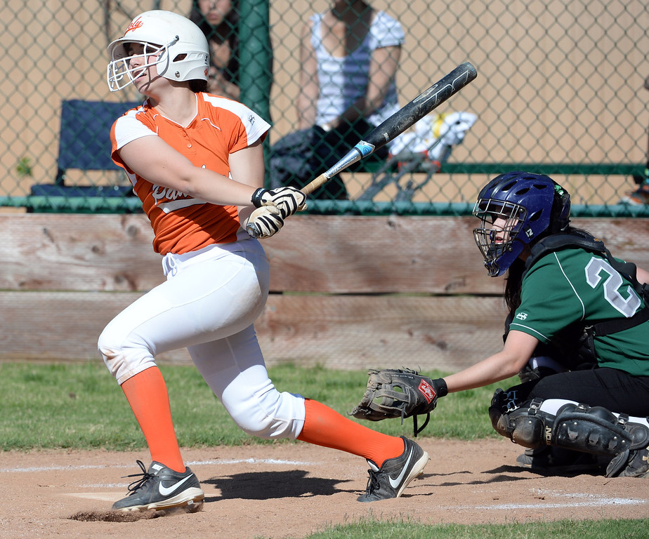Description of . Poly's Natalie Edwards watches her RBI double as two runs score in the second inning of a prep softball game against Westridge at Westridge High School in Pasadena, Ca on Tuesday, April 15, 2014. Poly won 11-1. (Keith Birmingham Pasadena Star-News)