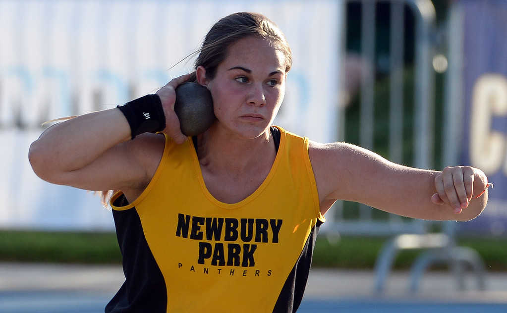 Description of . Newbury Park's Kendall Mader competes in the shot put during the CIF California State Track & Field Championships at Veteran's Memorial Stadium on the campus of Buchanan High School in Clovis, Calif., on Saturday, June 7, 2014.   (Keith Birmingham/Pasadena Star-News)