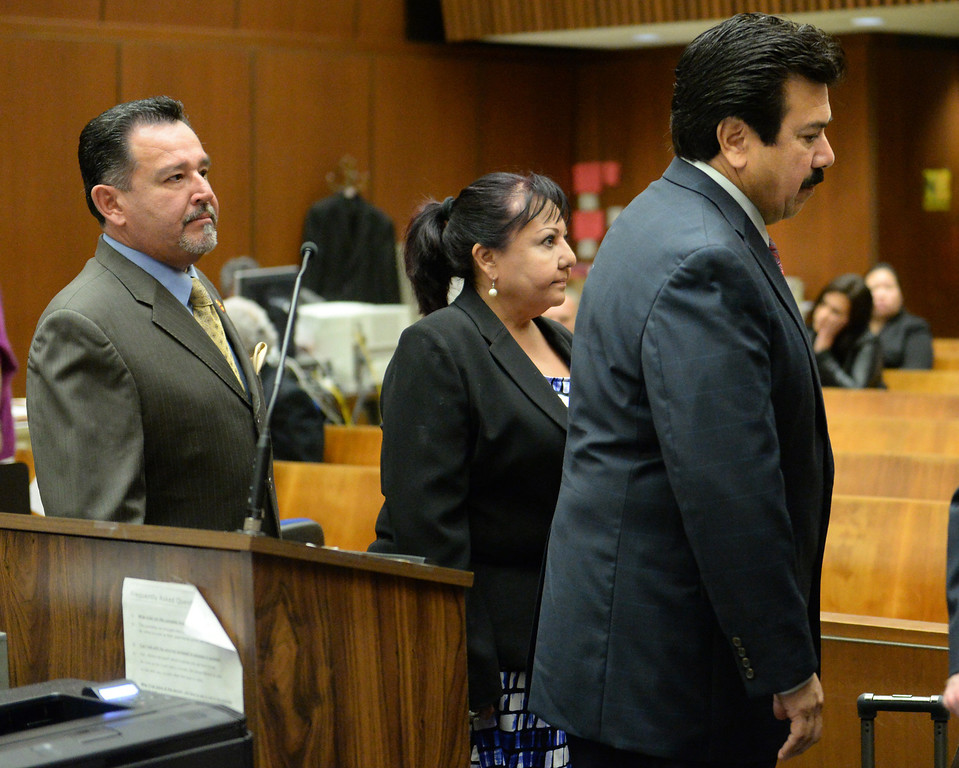 Description of . Irwindale City Councilmen Mark Breceda, left, Manuel Garcia, right, and former City Councilwoman Rosemary Ramirez, who have been charged with embezzlement, misappropriation of public funds and conflict of interest, appear in court to postpone their arraignment at the Clara Shortridge Foltz Criminal Justice Center in Los Angeles on Wednesday January 29, 2014. They will next appear on February 27th. (Staff Photo by Keith Durflinger/San Gabriel Valley Tribune)