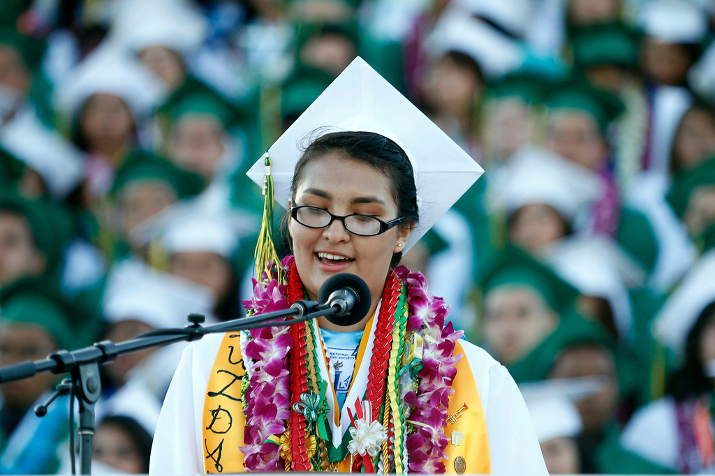 Description of . Valedictorian Luzdary Ruelas, during Schurr High School 2013 Commencement Exercises, at Ken Davis Field, at Schurr High School in Montebello, Thursday, June 20, 2013. (Correspondent Photo by James Carbone/SWCITY)