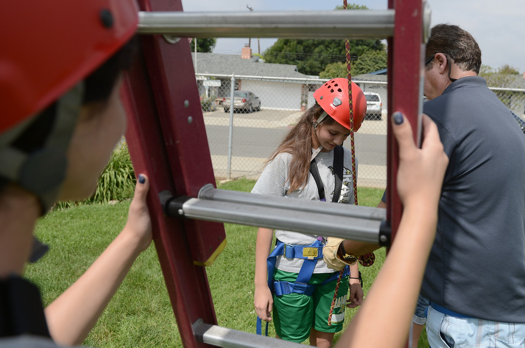 Description of . Ramona Middle School as students work through fear and practice cooperative problem solving in the Physical Education department's ropes course in La Verne May 22, 2012. (Thomas R. Cordova/Staff Photographer)