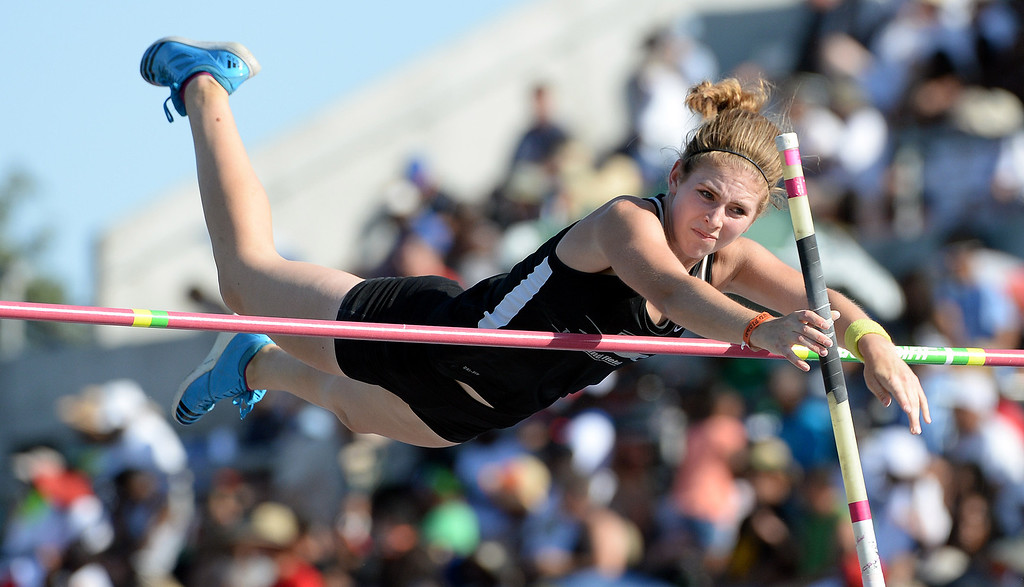 Description of . Pacific's Nicole Trenchard competes in the Pole Vault during the CIF California State Track & Field Championships at Veteran's Memorial Stadium on the campus of Buchanan High School in Clovis, Calif., on Saturday, June 7, 2014.   (Keith Birmingham/Pasadena Star-News)
