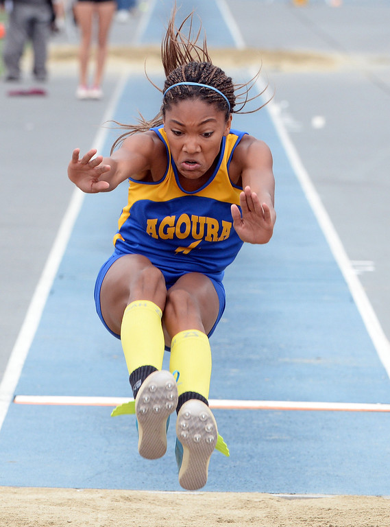 Description of . Agoura's Tara Davis competes in the Division 2 long jump during the CIF Southern Section track and final Championships at Cerritos College in Norwalk, Calif., on Saturday, May 24, 2014. 