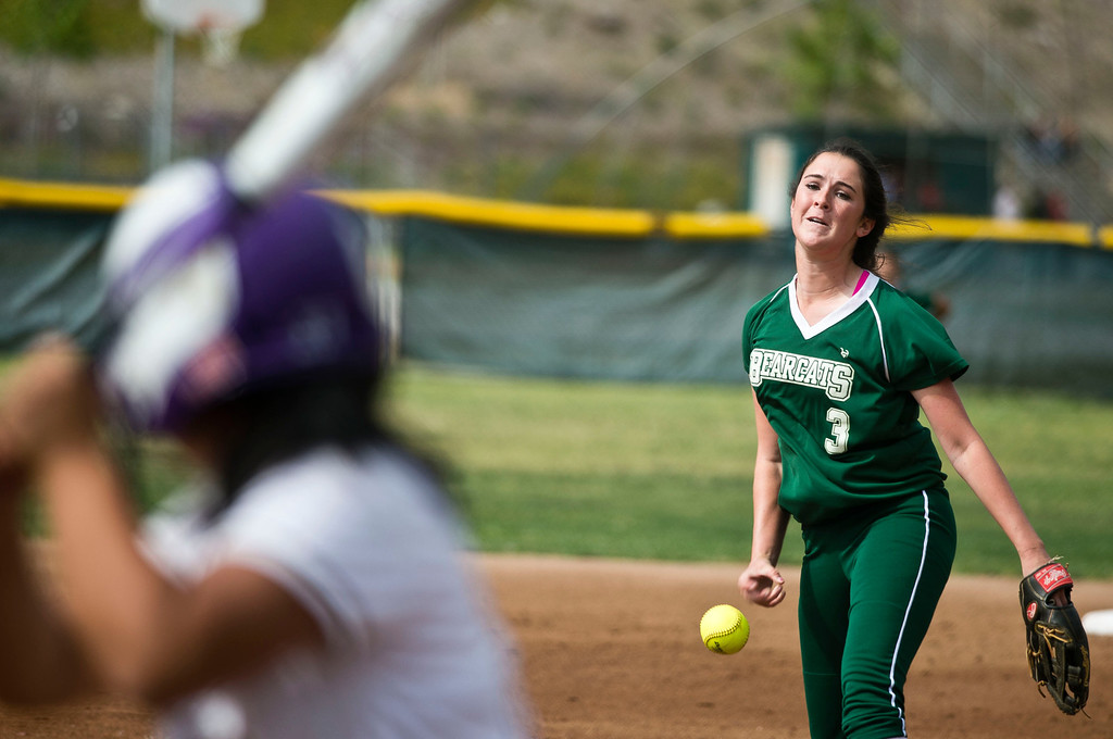 Description of . Bonita's Bianca Cockrell (3) pitches in the first inning during a prep softball game Bonita vs. Diamond Bar at Diamond Bar High School on Wednesday, May 8, 2013.     (SGVN/Staff photo by Watchara Phomicinda)